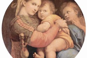 Рафаэль Санти. Мадонна делла Седжиола, сцена: Мария с младенцем Христом и Иоанном Крестителем, тондо
