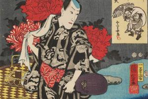 """Утагава Куниёси. Итикава Данзюро VIII. Серия """"Семь богов удачи на реке Сумида"""""""