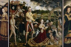 Алтарь Святой Екатерины. Центральная часть: Мученичество Святой Екатерины; левая часть: Святые Доротея, Агнесса и Кунигунда; правая часть: Святые Варвара, Урсула и Маргарита