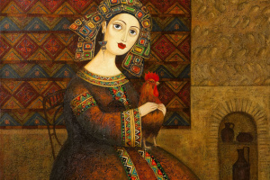 Гоголаури Звиад. Женщина с петухом и кошкой