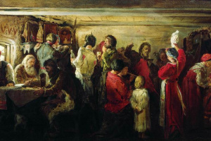 Peasant wedding in the Tambov province. 1880 Sketch option.