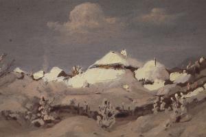 Зима. Пятна света на крышах хат