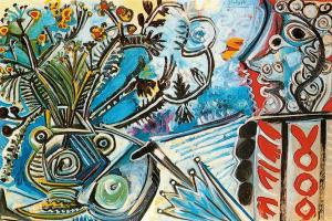 Пабло Пикассо. Цветы и человек с зонтом