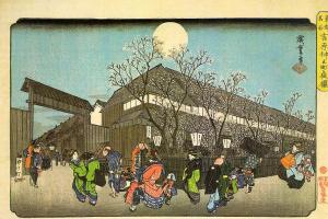 """Утагава Хиросигэ. Цветущие вишневые деревья в вечернее время на Накономаши в Ёсиваре. Серия """"Известные места восточной столицы"""""""
