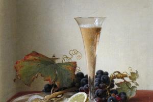 Иоганн Вильгельм Прейер. Виноград, устрицы, миндаль и бокал с шампанским на драпированном уступе. 1858
