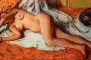 Эдгар Дега. После ванны. Лежащая обнаженная
