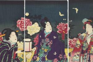 Утагава Кунисада. Триптих: Ночное созерцание цветущих пионов
