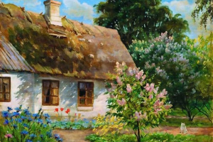 Дом в окружении цветущей сирени