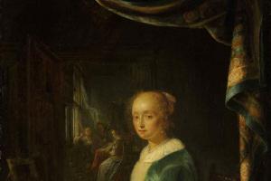 Геррит Доу. Молодая дама за вирджиналом