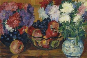Джованни Джакометти. Натюрморт с астрами, яблоками и виноградом
