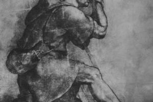 Рафаэль Санти. Коленопреклоненный Моисей. Этюд к композиции: Бог является Моисею в Неопалимой купине