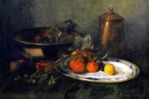 Уильям Меррит Чейз. Натюрморт с фруктами и медной посудой