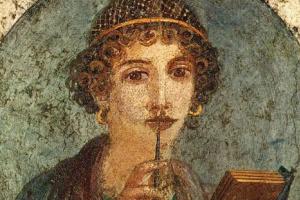 Неизвестный Автор. Портрет девушки, так называемая Сафо. Фреска из Геркуланума