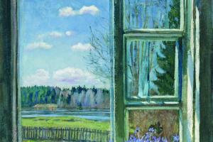 Stanislav Yulianovich Zhukovsky. Window with violets
