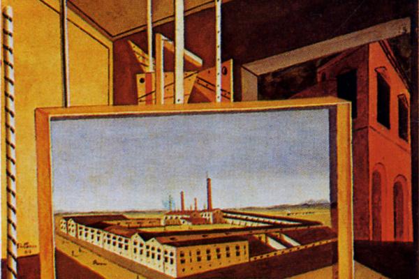 Джорджо де Кирико. Метафизический интерьер с большой фабрикой
