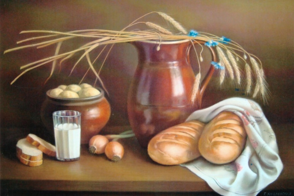 Galina Petrovna Khmelevskaya. Still life with spikelets