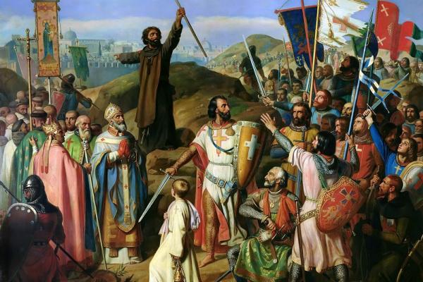 Жан Виктор Шнец. Шествие крестоносцев вокруг Иерусалима  14 июля 1099 года