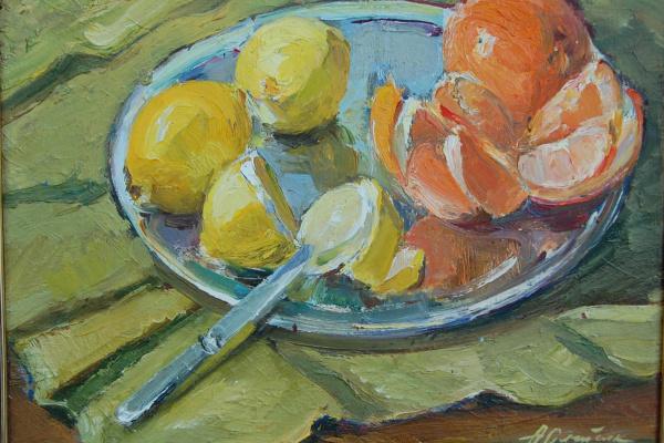 Анна Петровна Олейник. Натюрморт с апельсинами и лимонами.1978