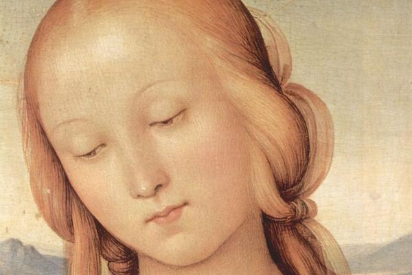Пьетро Перуджино. Мадонна со св. Иоанном Крестителем, деталь: Голова Мадонны