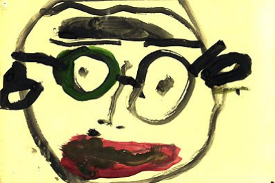 Unknown artist. Amazed bespectacled man