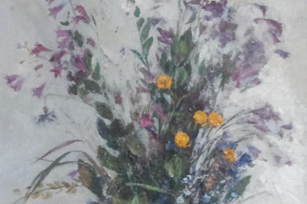 """Леонард Александрович Гусев. """"Купавки""""  1996  холст подрамник масло"""