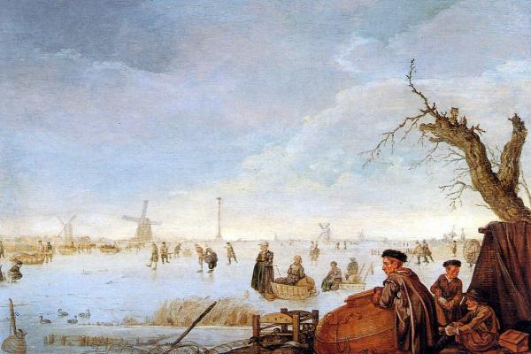 Арентз Арент. Зимний пейзаж с ловцами уток