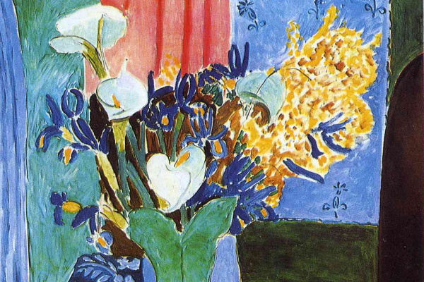 Анри Матисс. Арумы, ирисы и мимоза (Голубая ваза с цветами на синей скатерти)