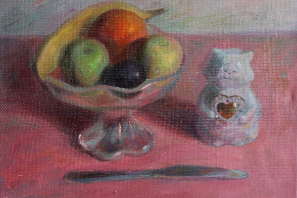 (no name). Porcelain cat and fruit