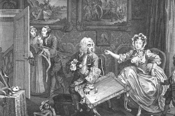 William Hogarth. Career prostitutes. A quarrel with a Jewish patron