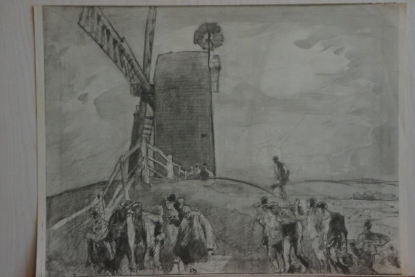 Frank William Brangwyn. Stage work on the etching Black MILL, Winchelsea