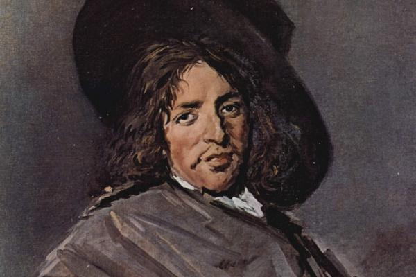 Франс Хальс. Портрет сидящего мужчины в шляпе, одетой набекрень