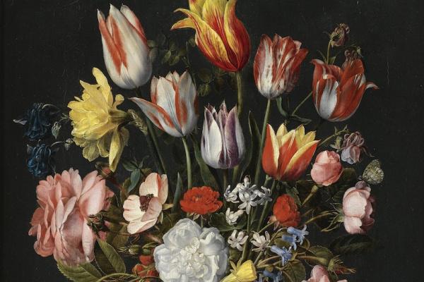 Якоб ван Хюльсдонк. Натюрморт из тюльпанов, роз, колокольчиков, нарциссов, пионов и других цветов в стеклянной вазе
