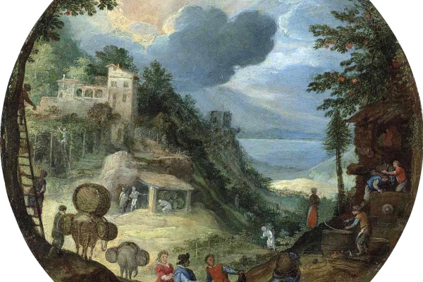 Paul Brill. Allegory of autumn (Forest landscape with figures and a wine press) 1598