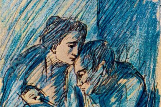 Пабло Пикассо. Мужчина и женщина с ребенком в кафе
