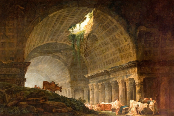 Hubert Robert. Gallery from ruins