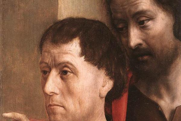 Хуго ван дер Гус. Портрет дарителя с Иоанном Крестителем