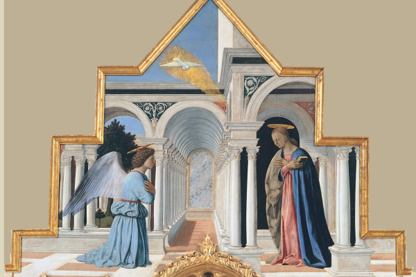 Piero della Francesca. Annunciation. Polyptych of St. Anthony. Top part