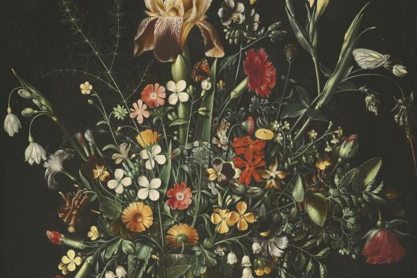Амброзиус Босхарт Старший. Натюрморт с цветами (ирисы, нарциссы, гвоздики, ландыши) в высоком бокале на каменном выступе