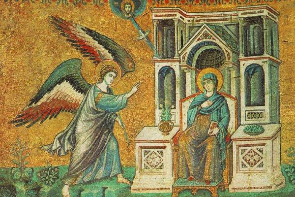 Пьетро Каваллини. Благовещение. Из цикла мозаик с шестью сценами из жизни Святой Марии в церкви Санта Мария в Траставерде в Риме