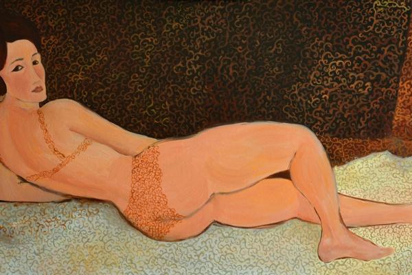 """Марианна Маслова. Из серии """"Мода Моди"""" (вольная копия Модильяни """"Обнаженная, лежащая на левом боку"""")"""