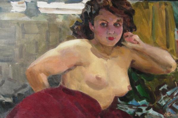 """Константин Петрович Фролов. """"Кокетка"""", 1957г., Фролов Константин Петрович (1918-1997), х./м., 50х80"""
