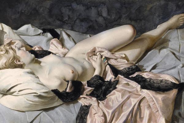 Лев Смарагдович Чистовский. Обнаженная, лежащая с розовым платьем. 1917