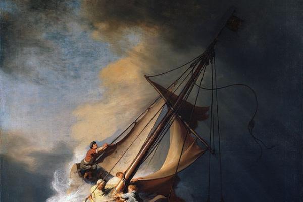 Рембрандт Ван Рейн. Христос во время шторма на море Галилейском