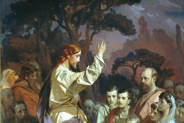 Иван Кузьмич Макаров. Нагорная проповедь (Христос, благословляющий царское семейство). Около 1890