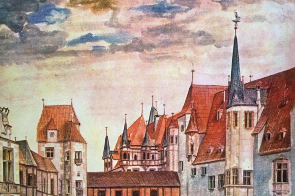 Albrecht Durer. The courtyard of the castle in Innsbruck with clouds
