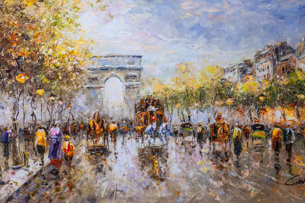 "Christina Viver. Landscape of Paris by Antoine Blanchard ""Champs Elysees, Arc de Triomphe"""