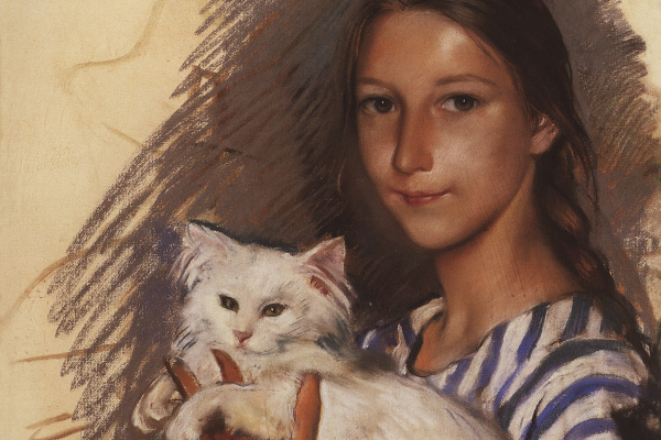 Zinaida Evgenievna Serebryakova. Portrait of Natasha Lancere with a cat