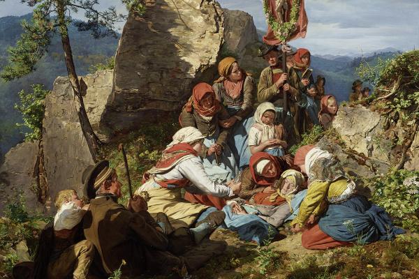 "Ferdinand Georg Waldmüller. The Interrupted Pilgrimage (""The Sick Pilgrim"")"