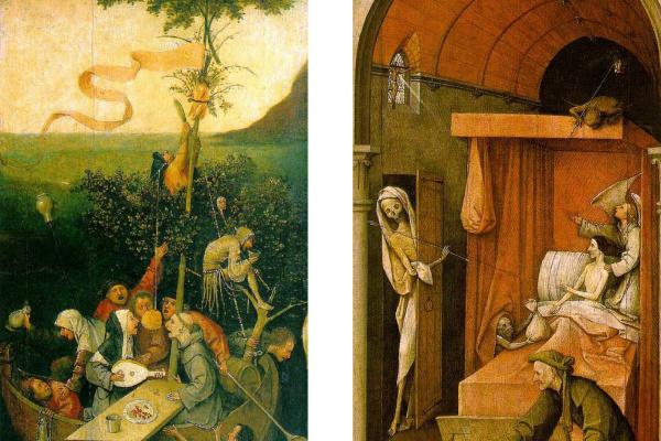 Иероним Босх. Реконструкция триптиха  Корабль дураков (верхние две трети левой панели), Аллегория чревоугодия и похоти (нижняя часть левой панели) и Смерть скупца (правая панель)
