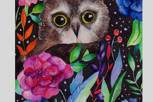 Динара Сабрекова. Ночная сова в свете акварельной флоры.